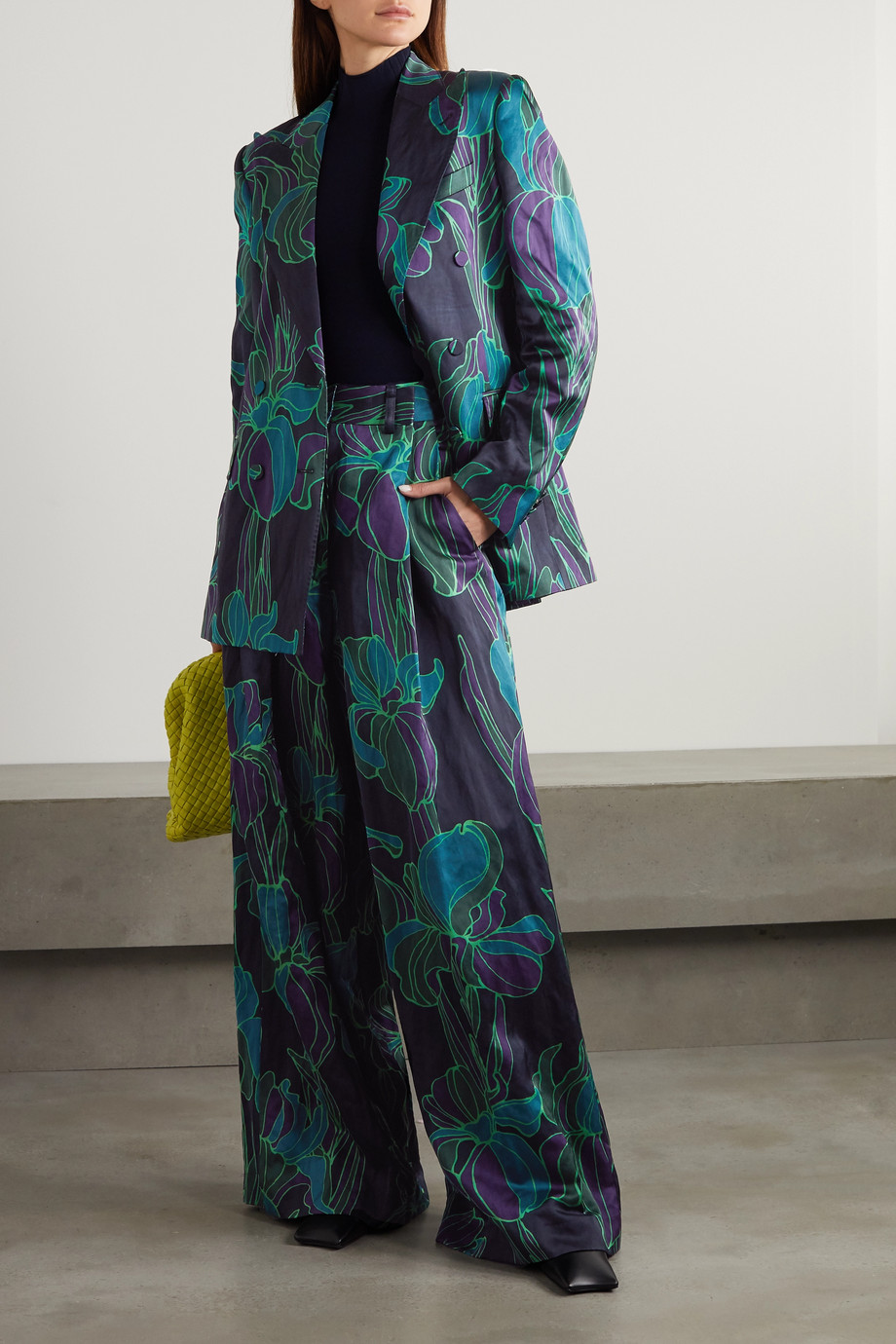 Dries Van Noten Double-breasted floral-print woven blazer
