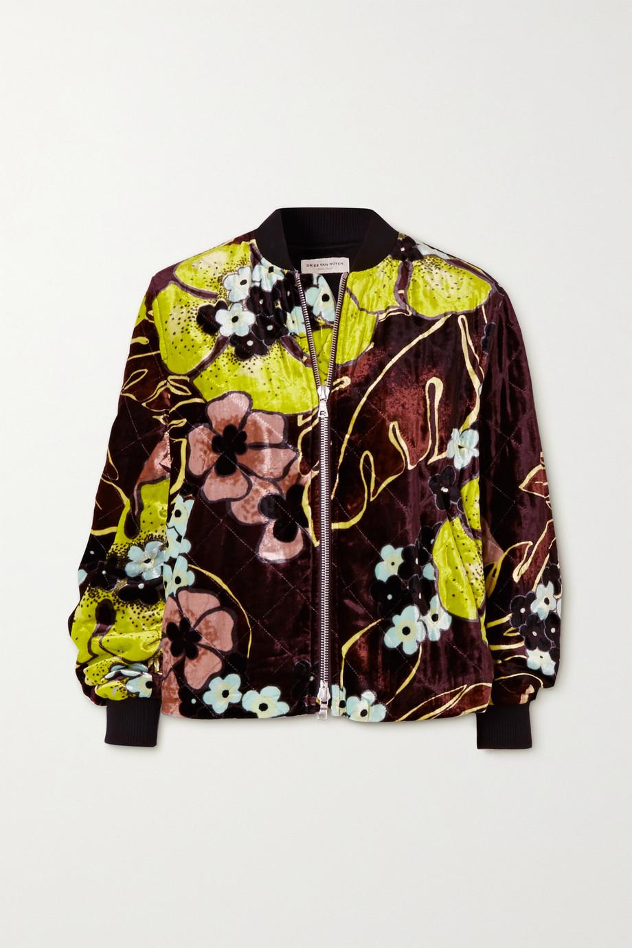 Dries Van Noten Quilted floral-print velvet jacket