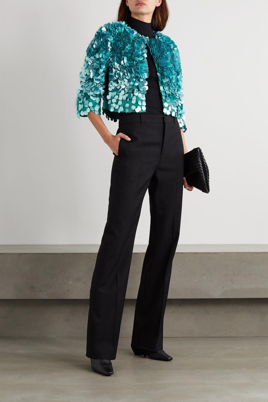 Dries Van Noten Cropped embellished satin jacket