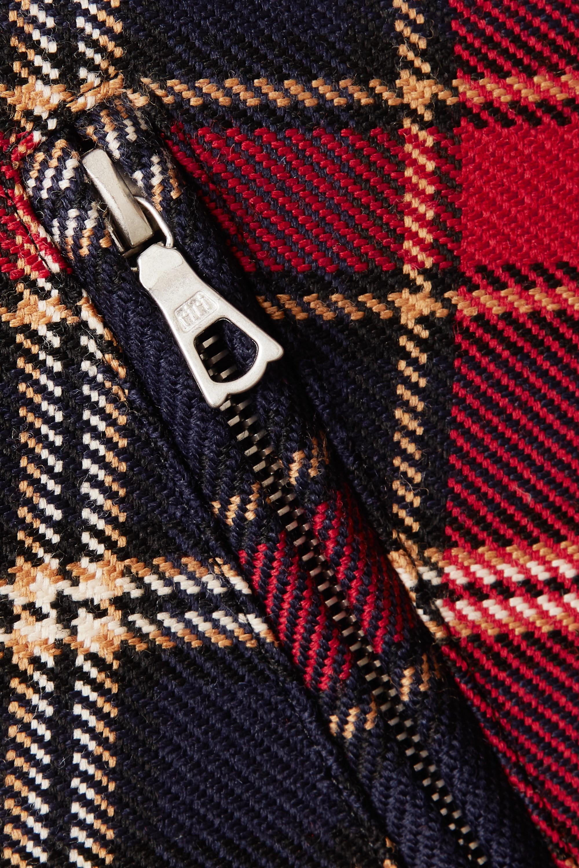 Dries Van Noten Jacke aus karierter Wolle mit Besätzen aus Faux Fur und Leder