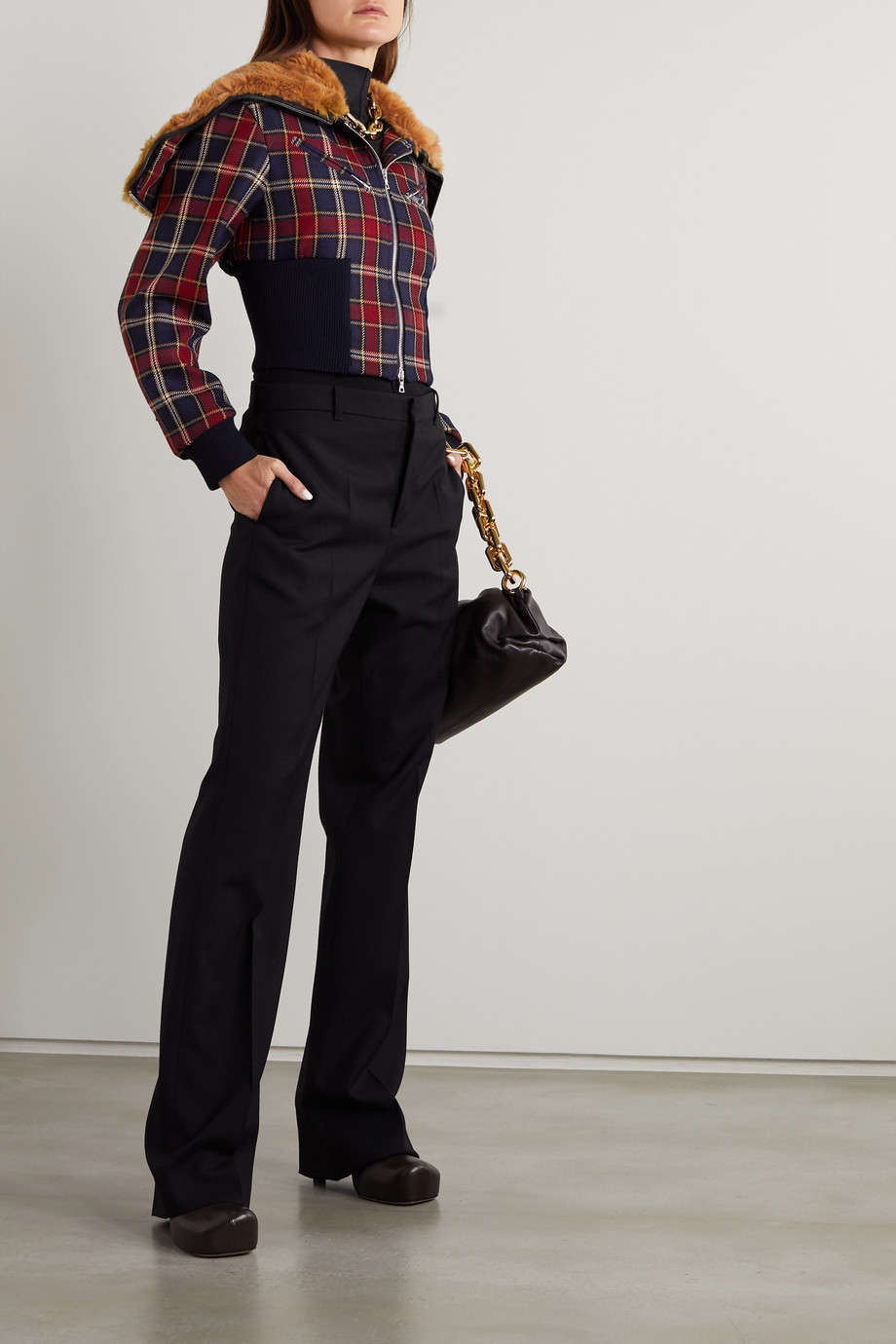 Dries Van Noten Faux fur and leather-trimmed checked wool jacket