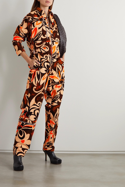 Dries Van Noten Jumpsuit aus Baumwollcord mit Blumenprint