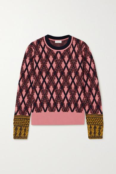 Dries Van Noten - Embroidered Metallic Argyle Knitted Sweater - Pink