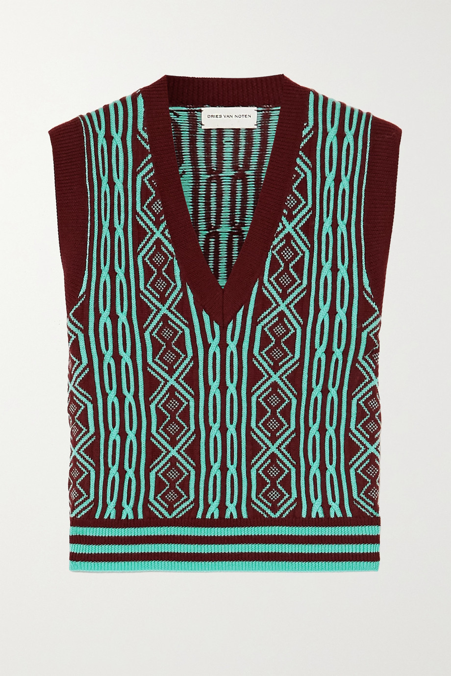 Dries Van Noten Intarsia merino wool tank