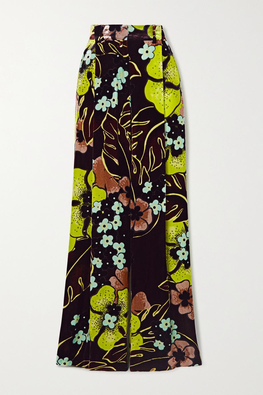 Dries Van Noten Podium printed velvet wide-leg pants