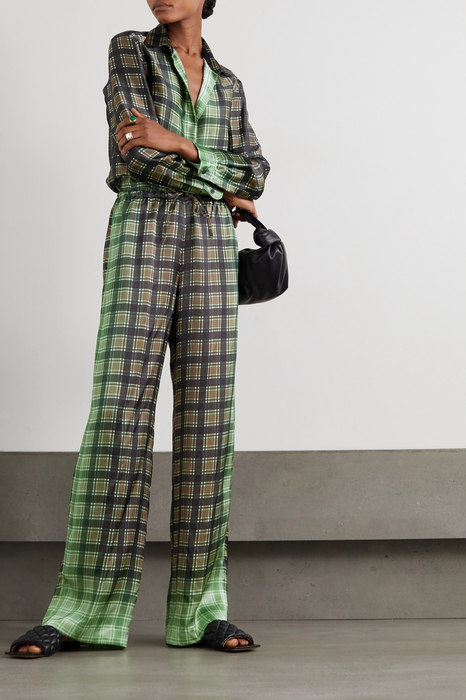 Dries Van Noten Checked satin-twill wide-leg pants