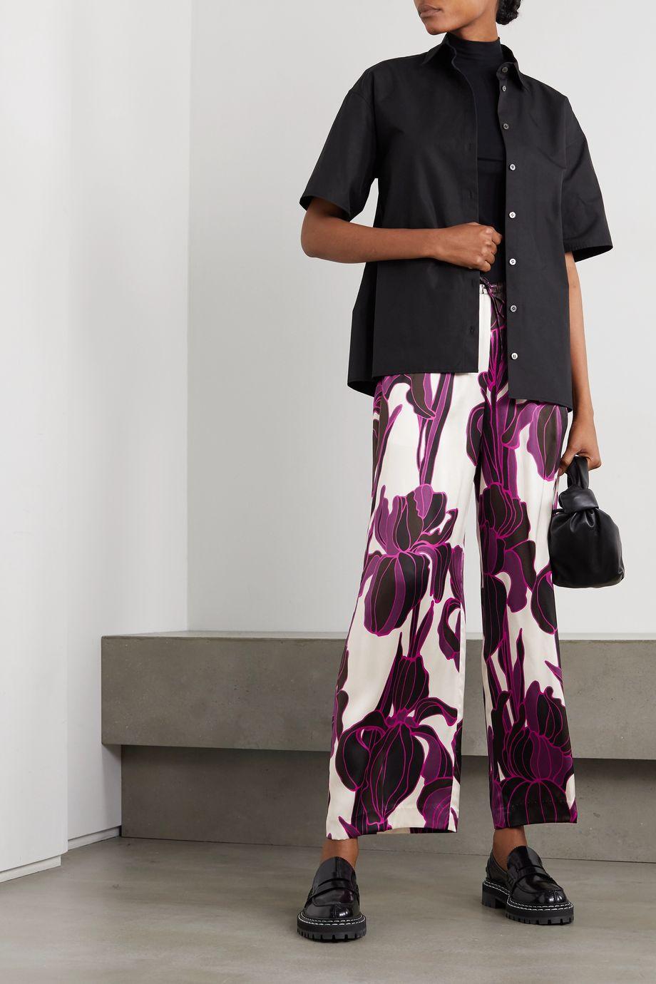 Dries Van Noten Floral-print silk wide-leg pants