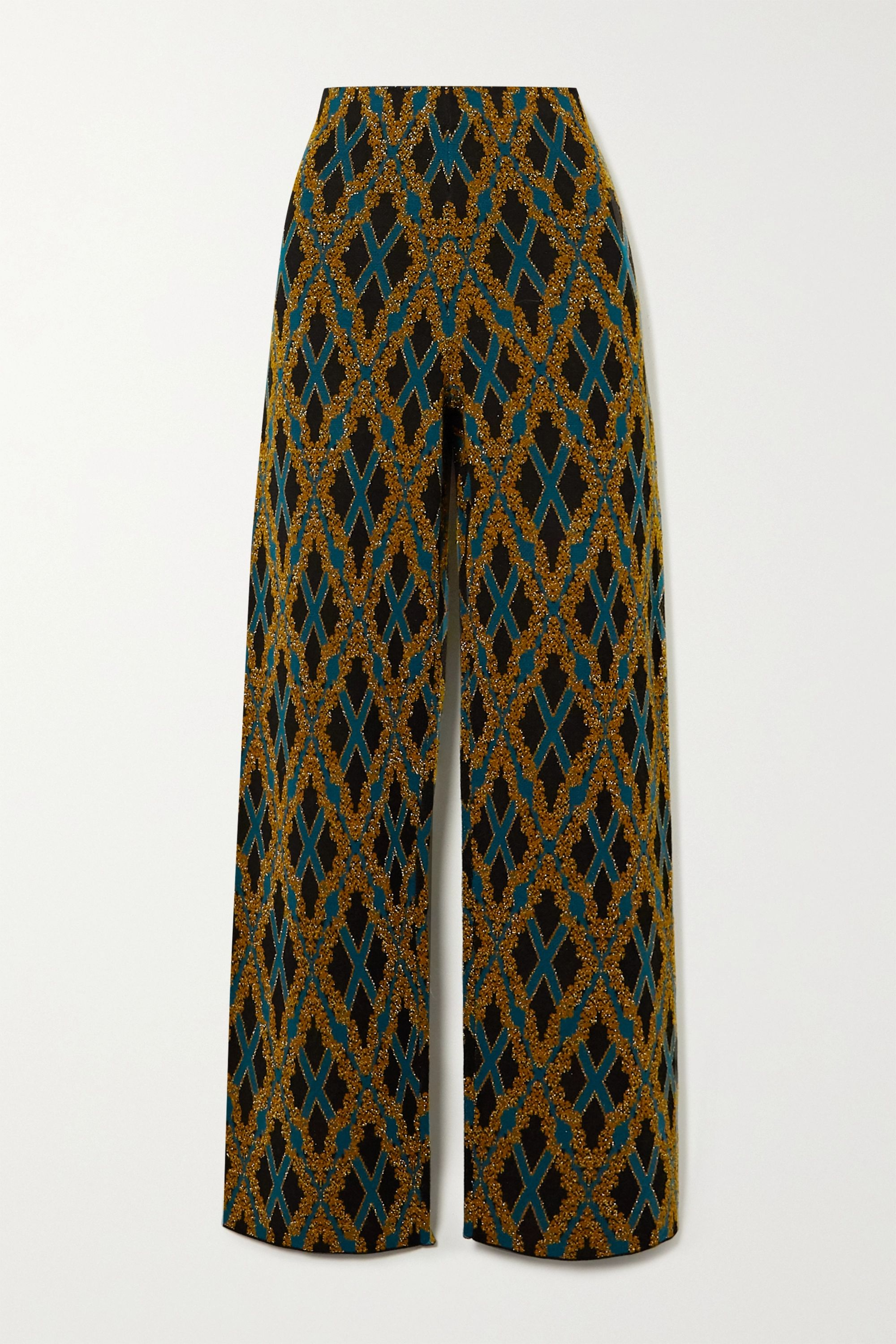 Dries Van Noten Metallic argyle merino wool-blend straight-leg pants
