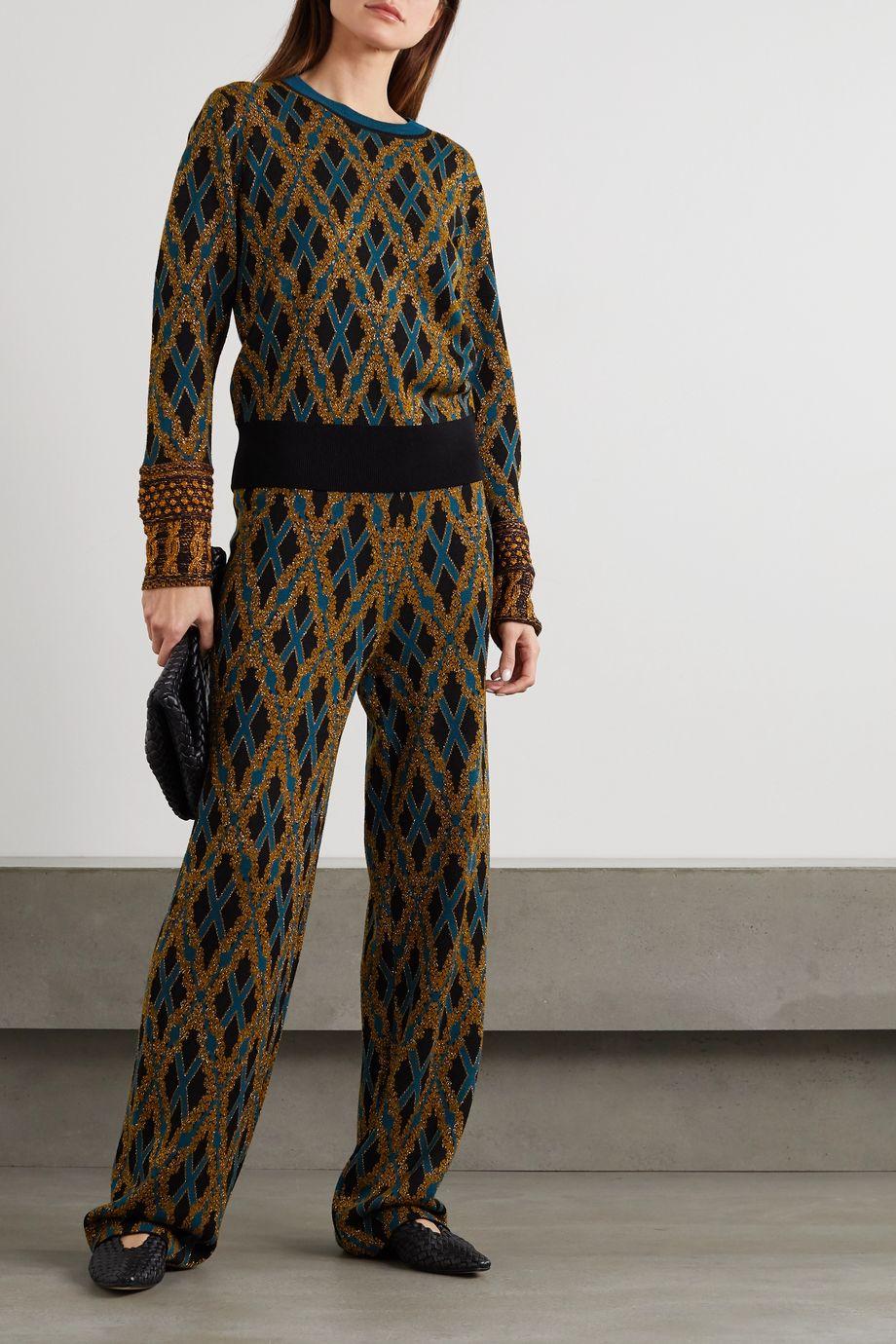 Dries Van Noten Hose mit geradem Bein aus einer Merinowollmischung mit Argyle-Muster in Metallic-Optik