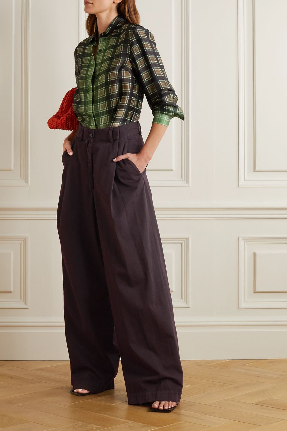 Dries Van Noten Pantalon large en serge de coton