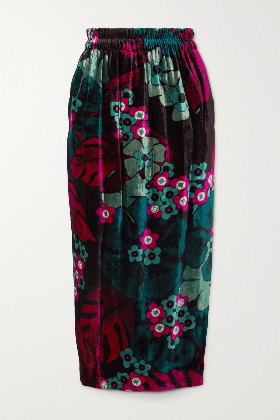 Dries Van Noten Floral-print velvet midi skirt