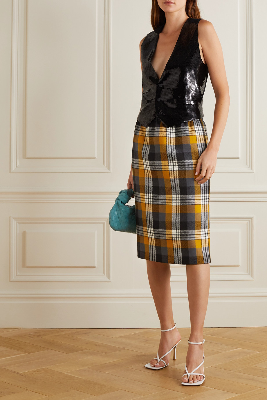 Dries Van Noten Checked wool midi skirt