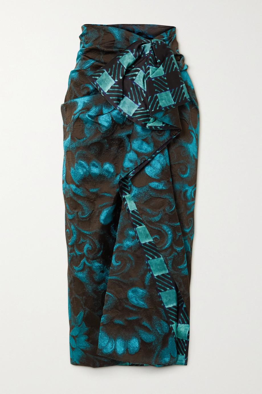Dries Van Noten Ruffled satin-trimmed floral-jacquard midi skirt