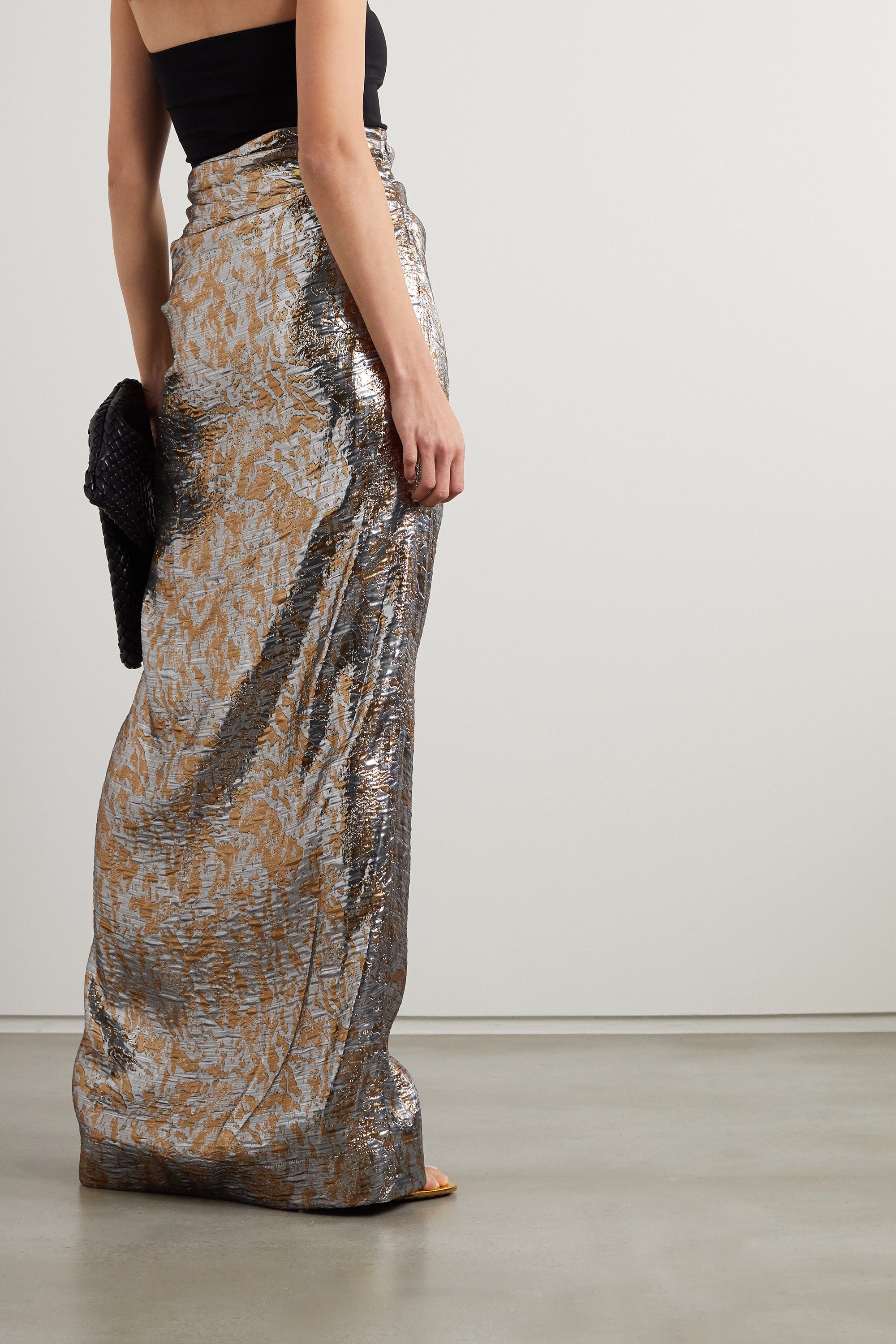 Dries Van Noten Draped metallic silk-blend lamé maxi skirt
