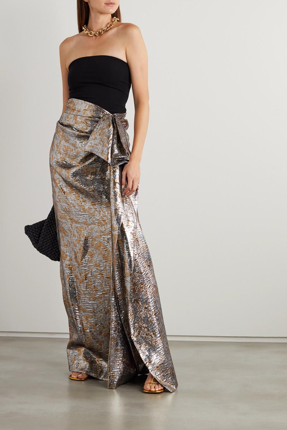 Dries Van Noten Draped metallic silk-blend lamé maxi skirt