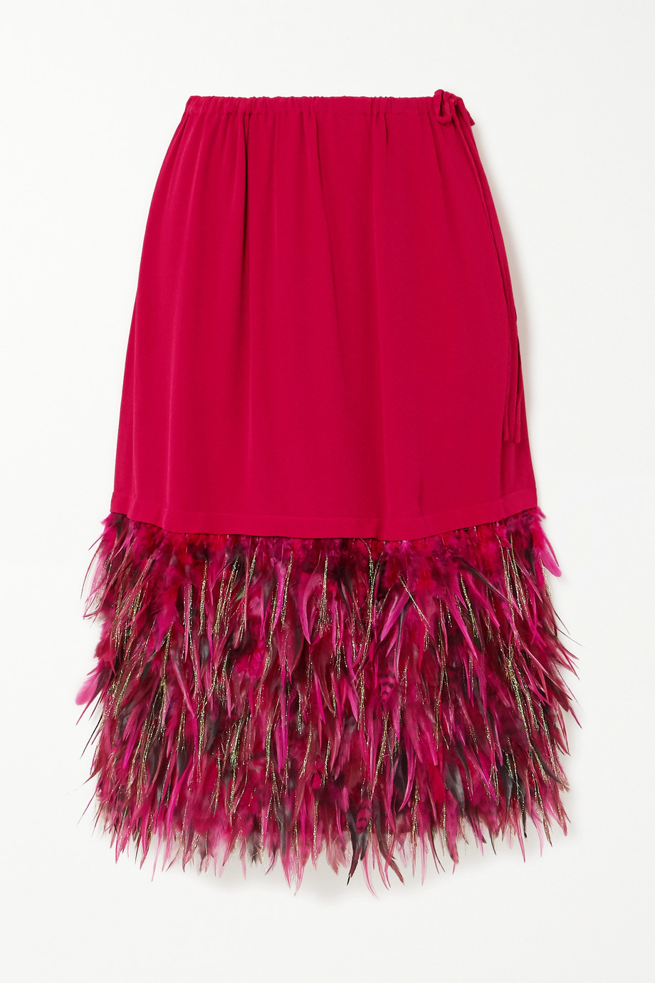 Dries Van Noten Feather-trimmed crepe skirt