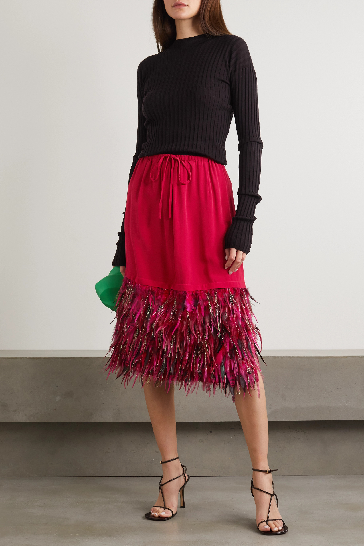 Dries Van Noten Feather-trimmed crepe skirt