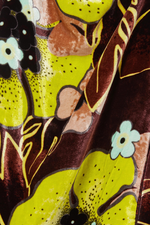 Dries Van Noten Oberteil aus Samt mit Blumenprint