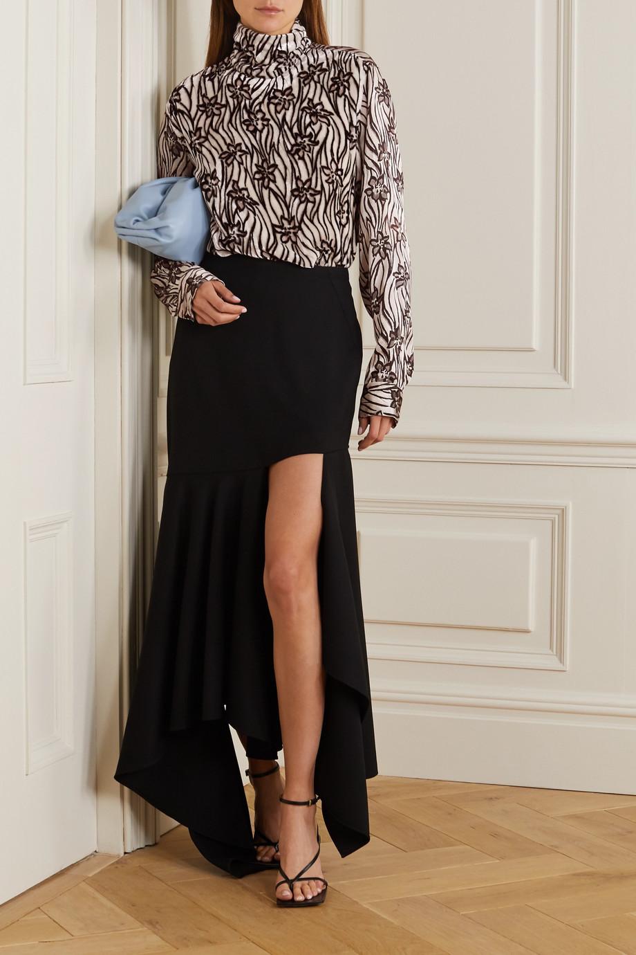 Dries Van Noten Printed velvet and satin blouse