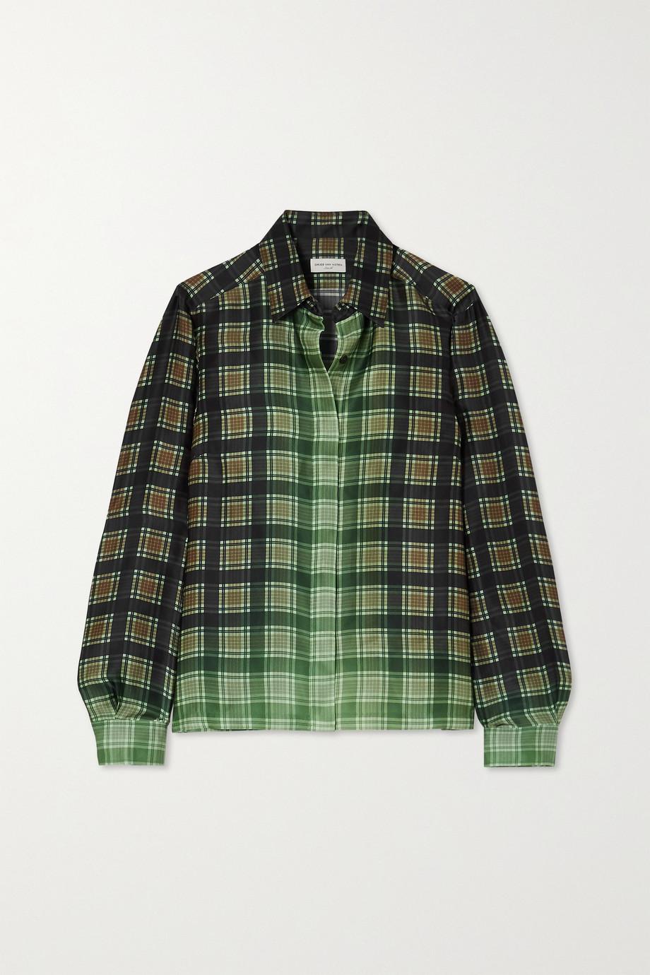 Dries Van Noten Checked satin-twill shirt