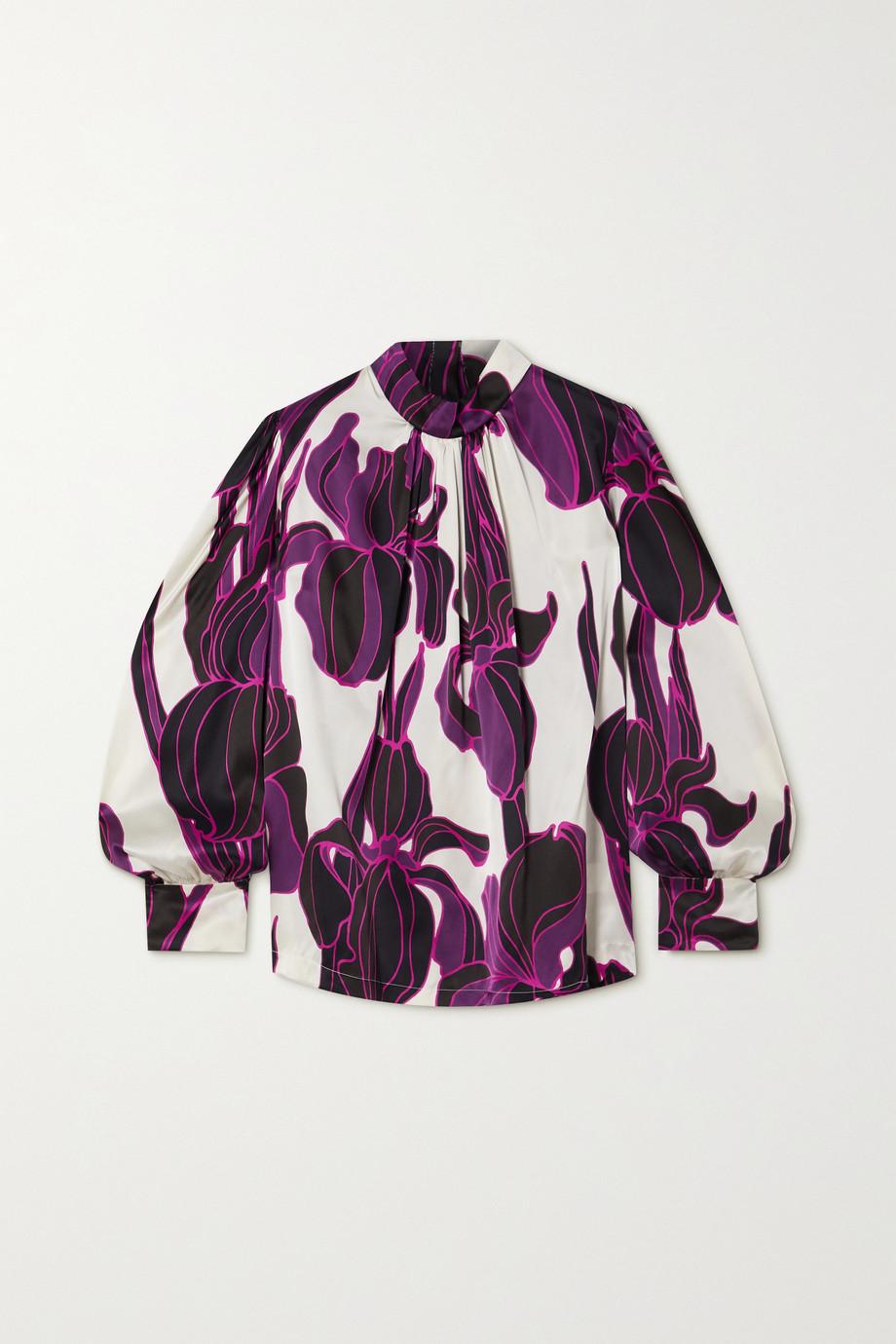 Dries Van Noten Bluse aus Seidensatin mit Blumenprint