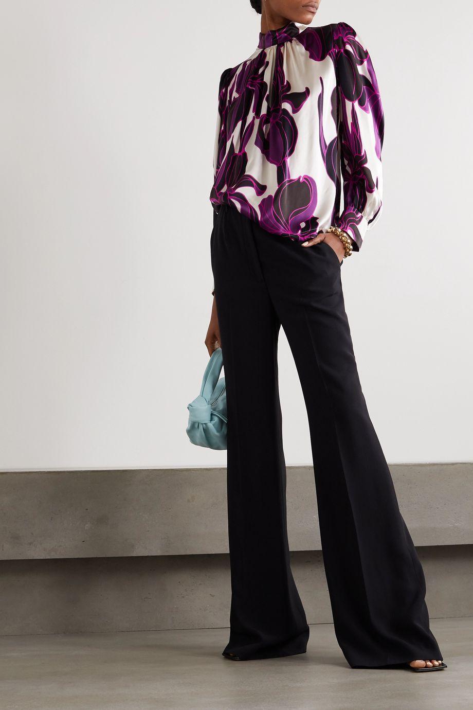 Dries Van Noten Floral-print silk-satin blouse