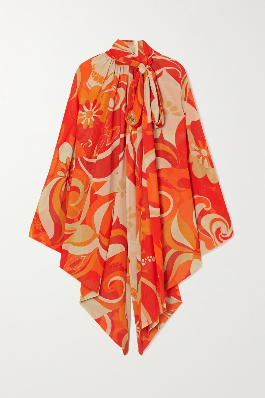 Dries Van Noten Pussy-bow draped printed crepe de chine top