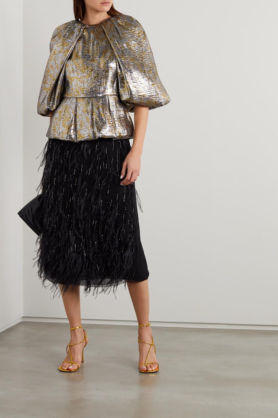 Dries Van Noten Silk-blend lamé blouse