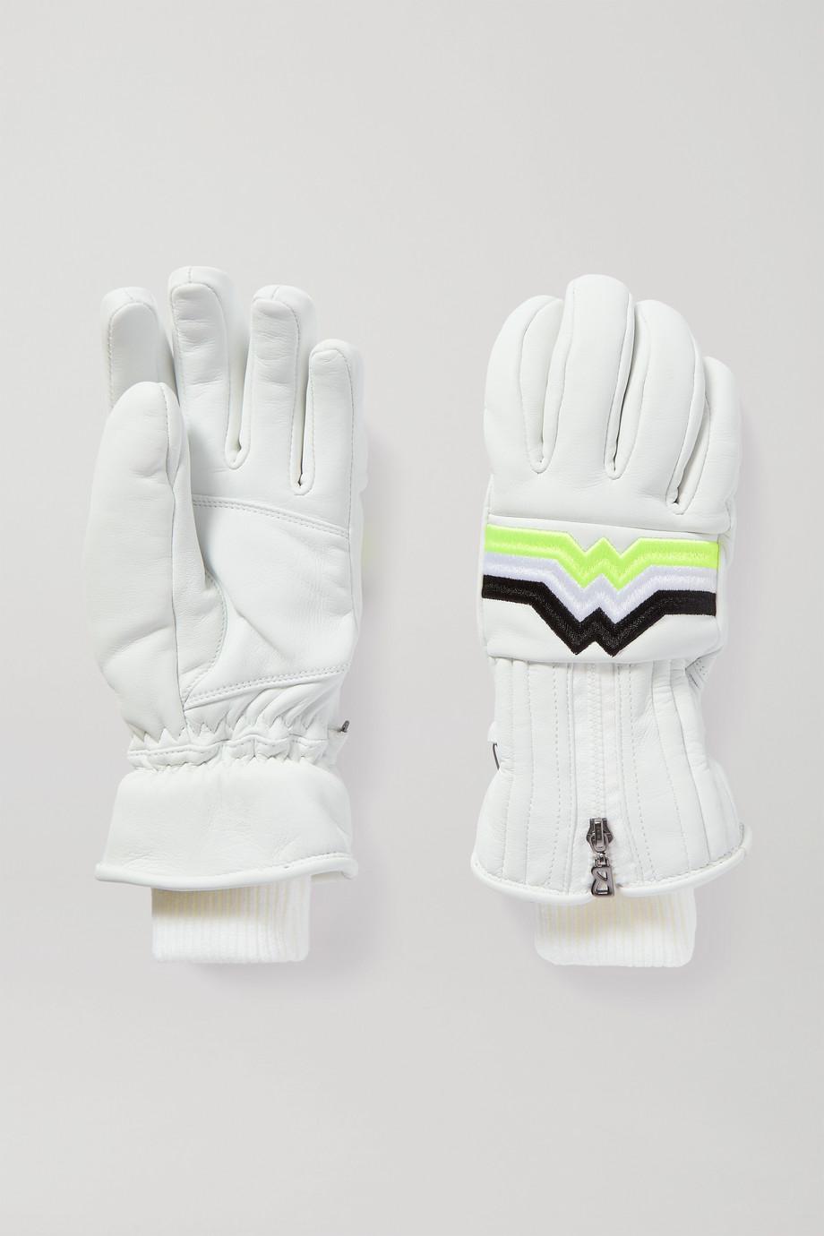 Bogner Zoe embroidered leather ski gloves