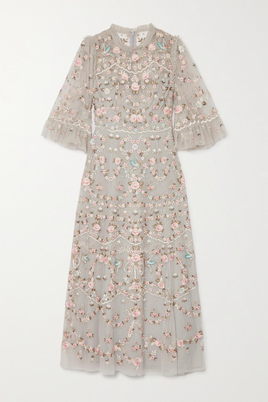 Needle & Thread Regency Garden Ballerina ruffled embroidered tulle midi dress