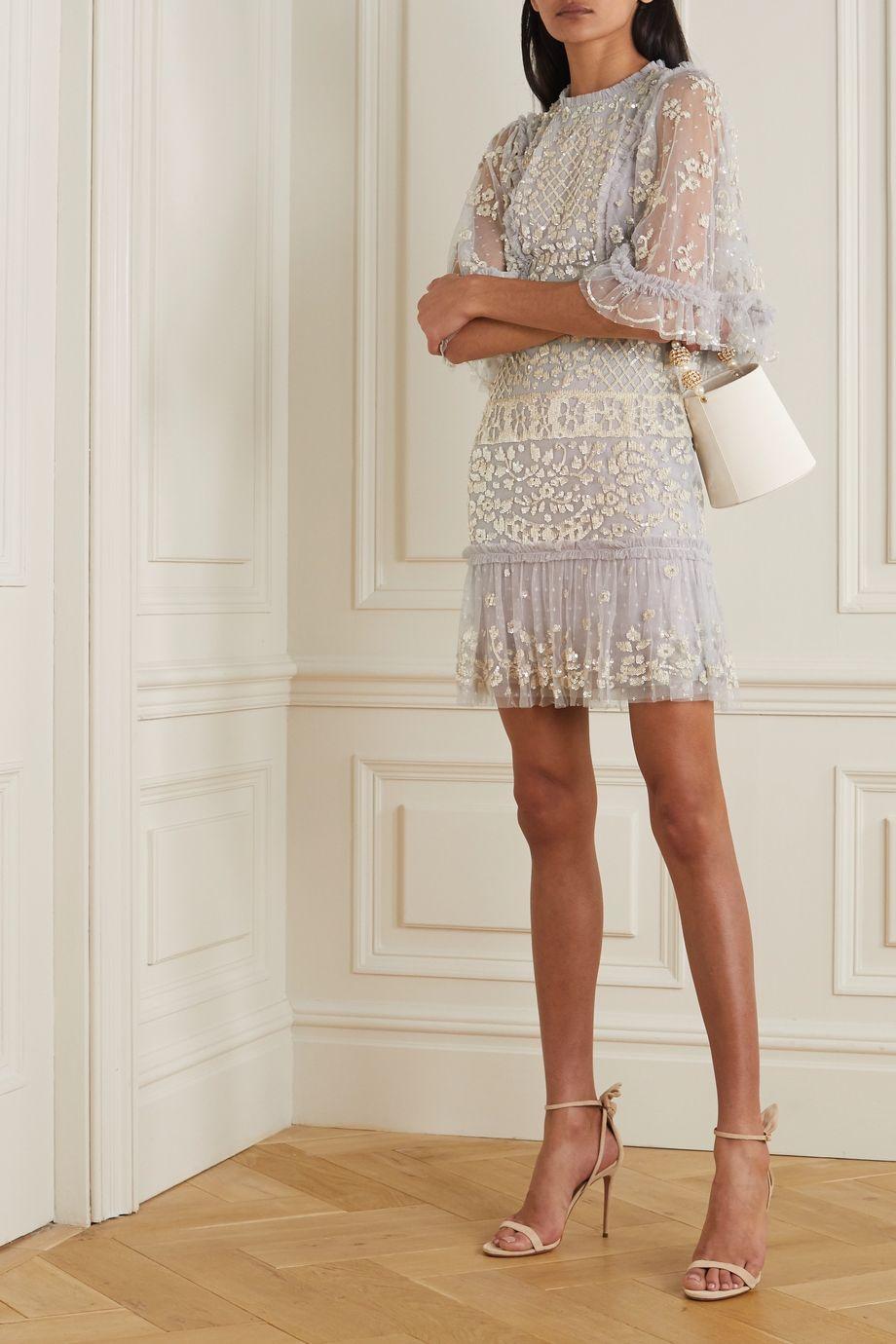 Needle & Thread Melody ruffled sequin-embellished tulle mini dress