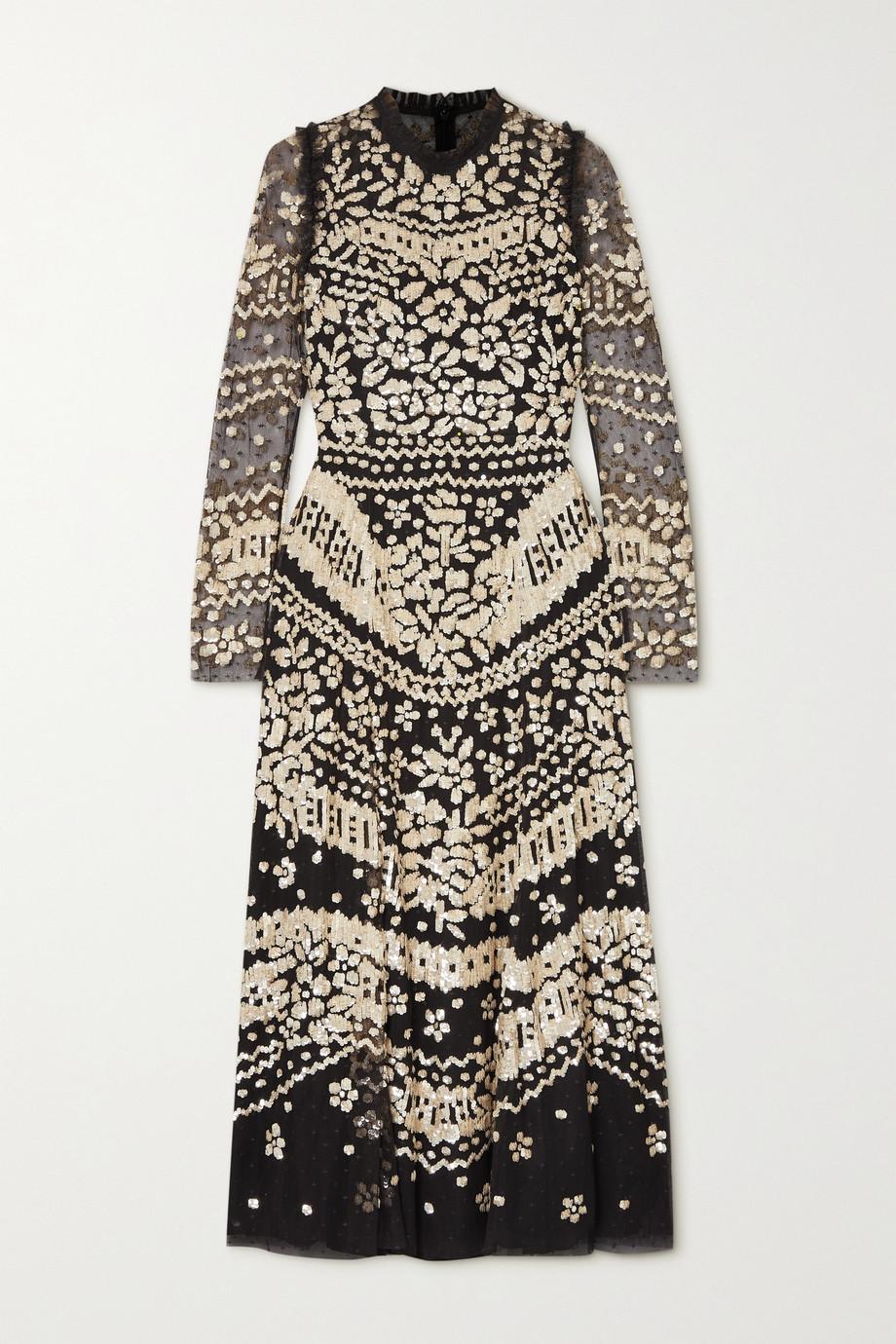 Needle & Thread Anaïs Sequin Ballerina ruffled embellished tulle midi dress