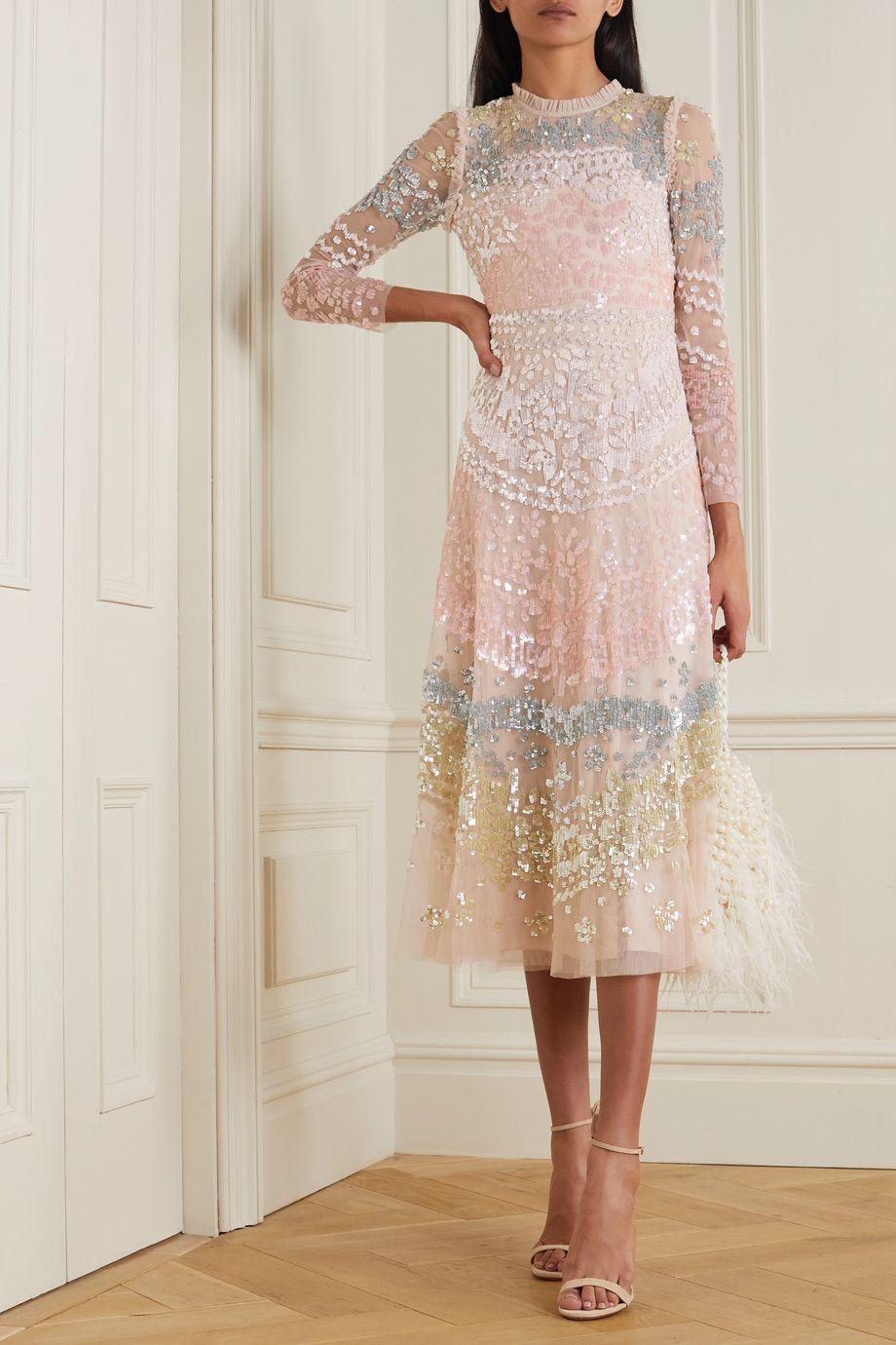 Needle & Thread Angeline Sequin ruffled embellished tulle midi dress