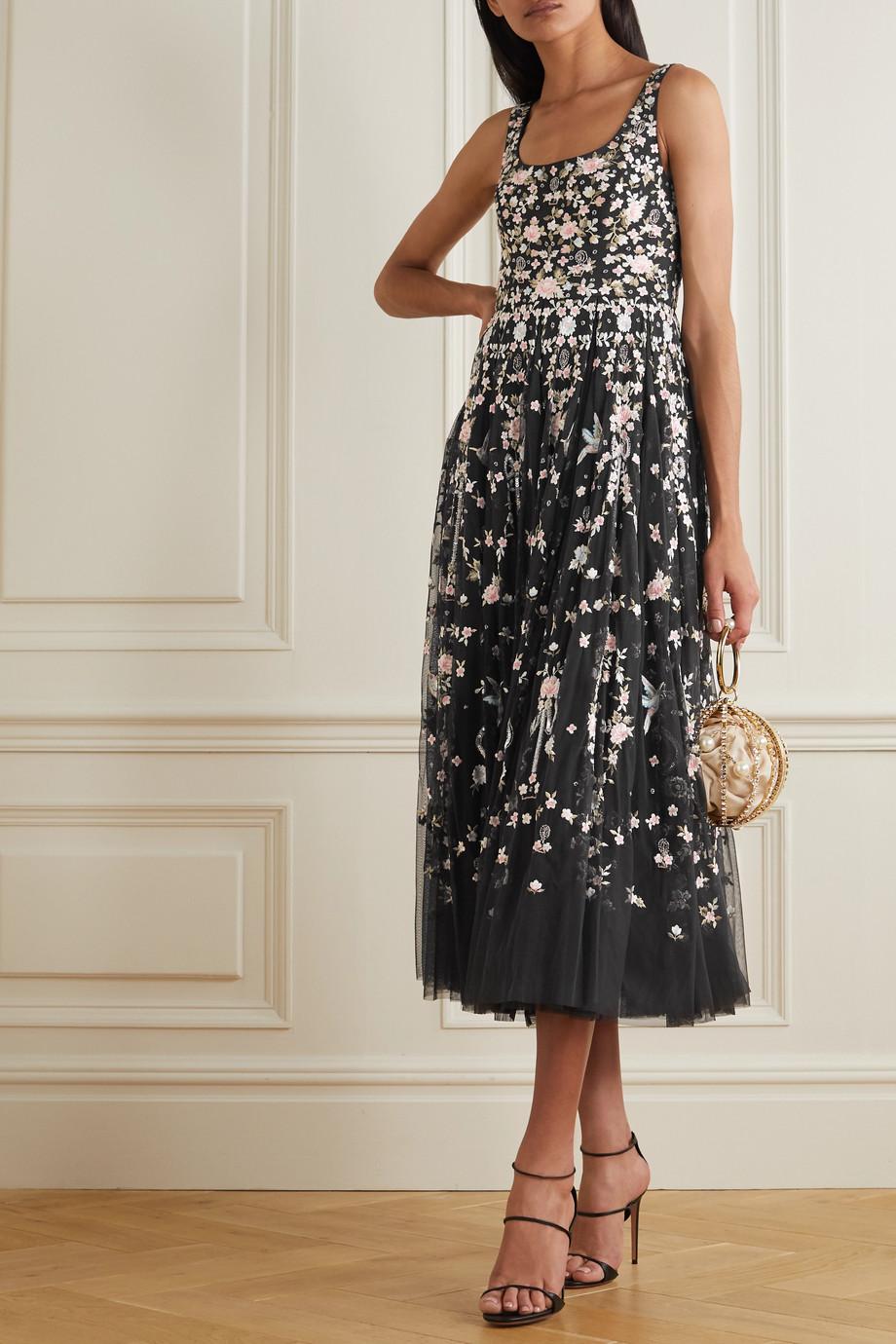 Needle & Thread Regency Garden Ballerina embellished embroidered tulle midi dress