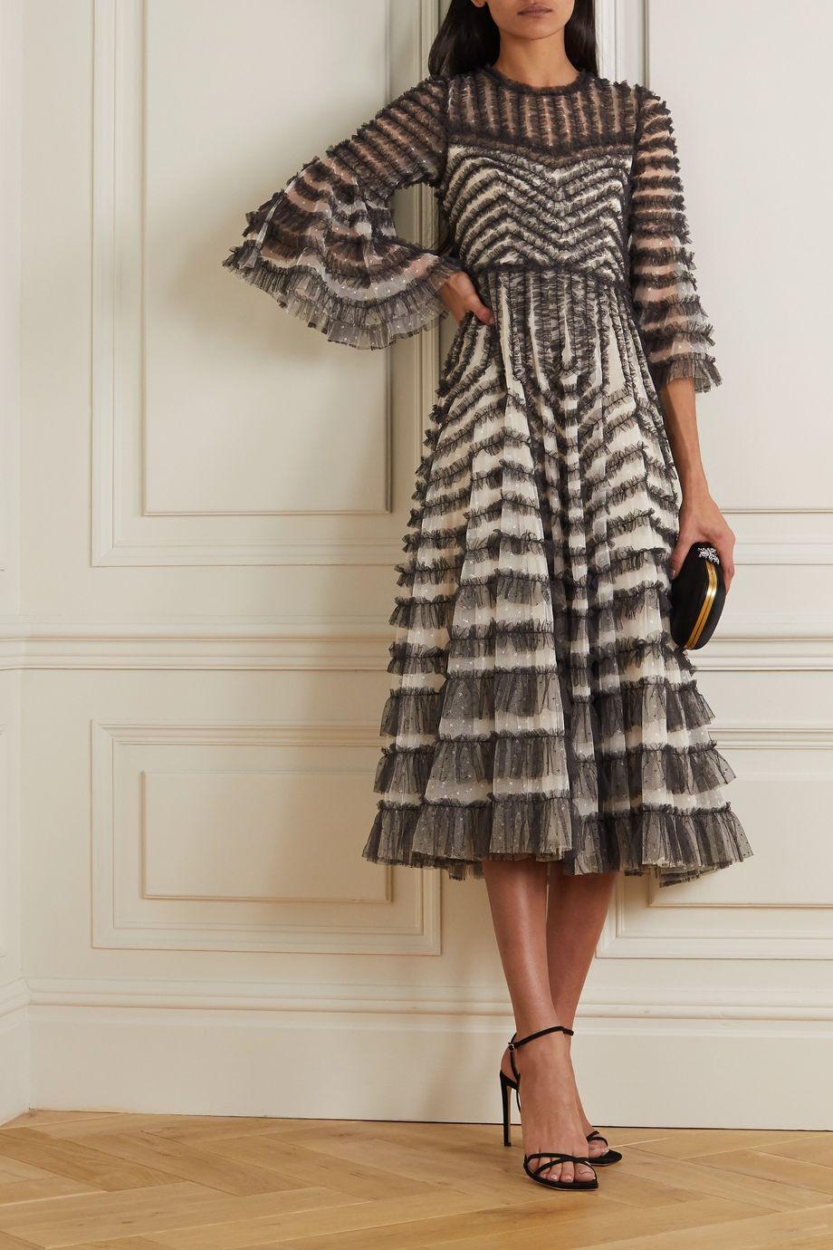 Needle & Thread La Vie En Rose ruffled embroidered tulle midi dress