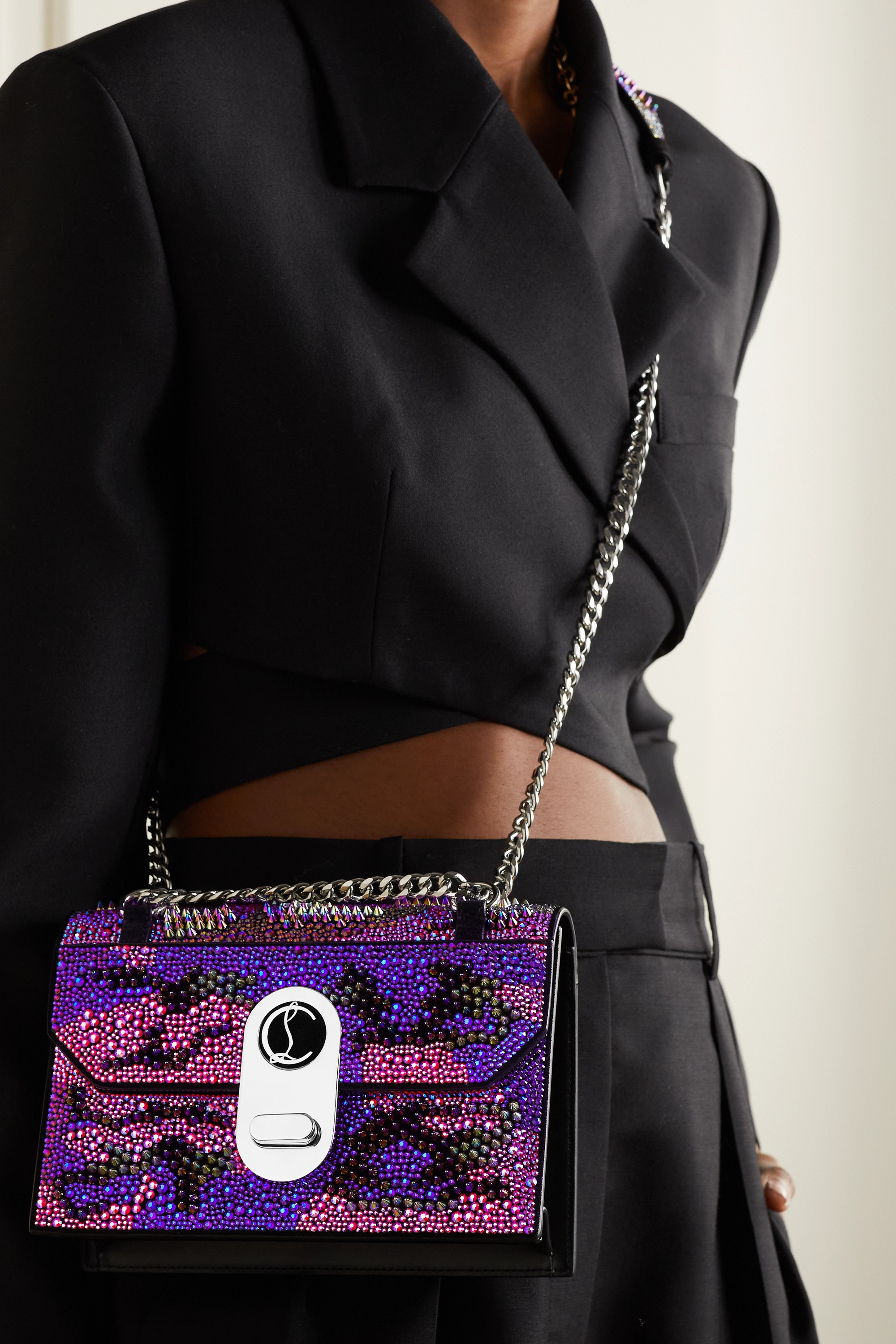 Christian Louboutin Elisa crystal-embellished suede shoulder bag