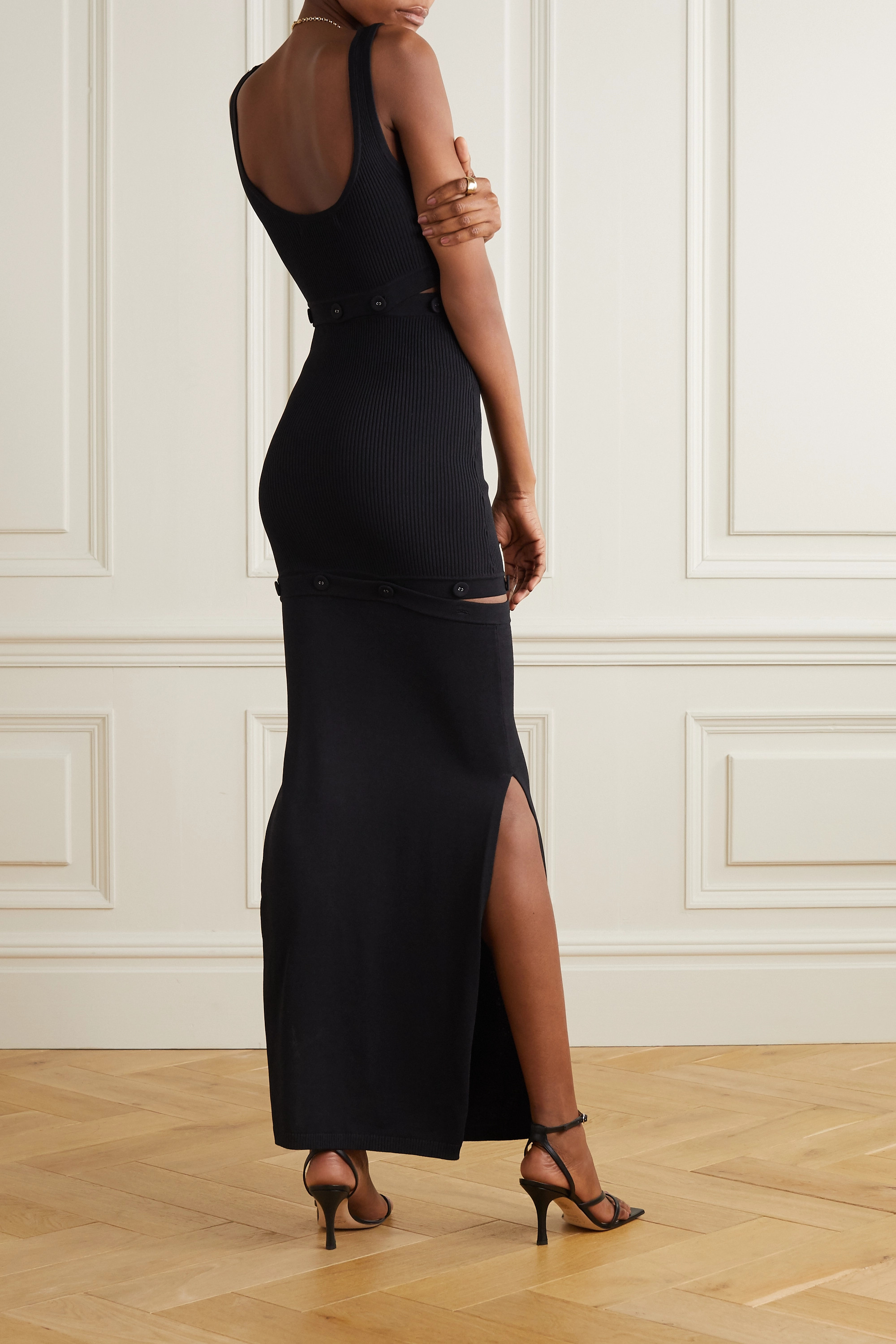 Christopher Esber Convertible button-embellished ribbed-knit maxi dress