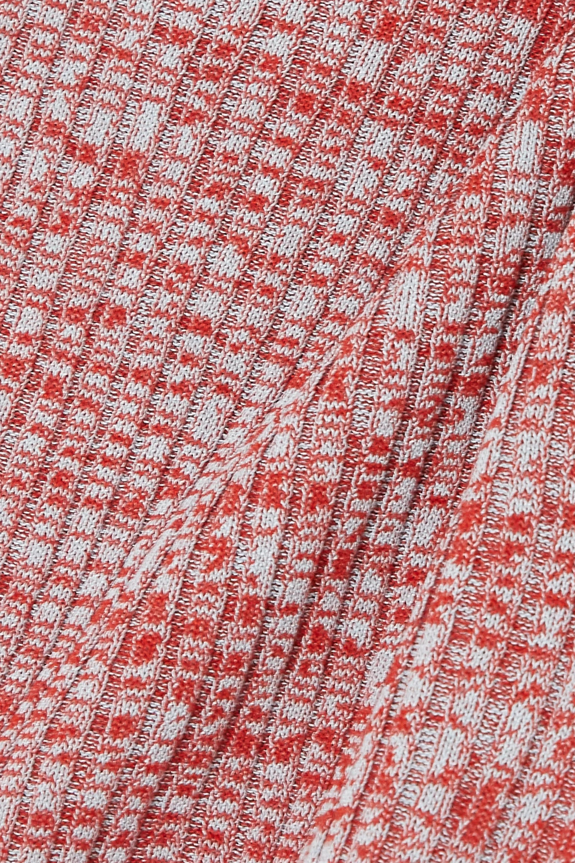 Christopher Esber Cropped tie-detailed mélange ribbed-knit top