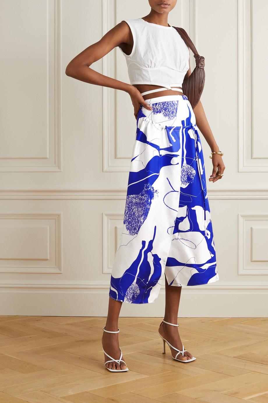 Christopher Esber Printed silk-twill wrap skirt