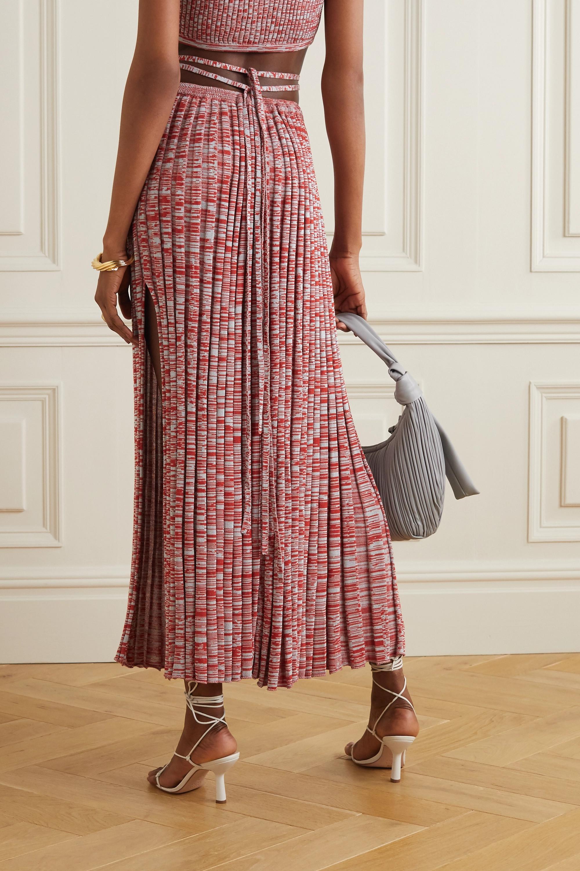 Christopher Esber Tie-detailed mélange ribbed-knit maxi skirt