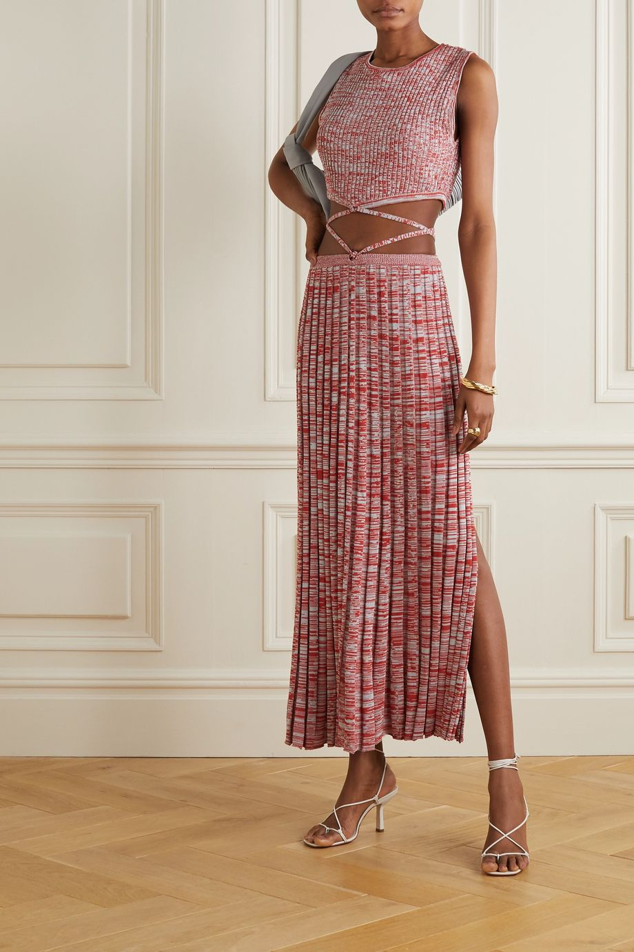 Christopher Esber Tie-detailed mélange ribbed-knit maxi skirt