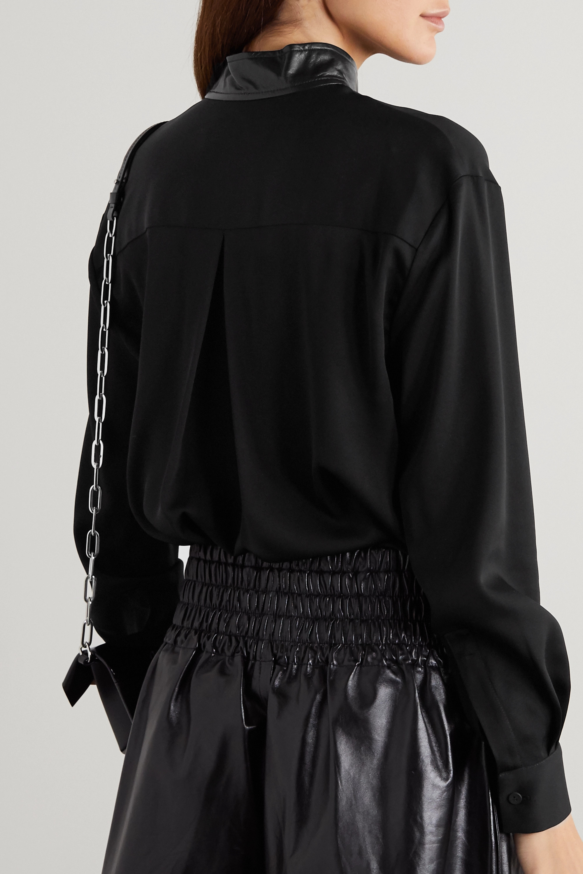 Christopher Esber Leather-trimmed voile blouse