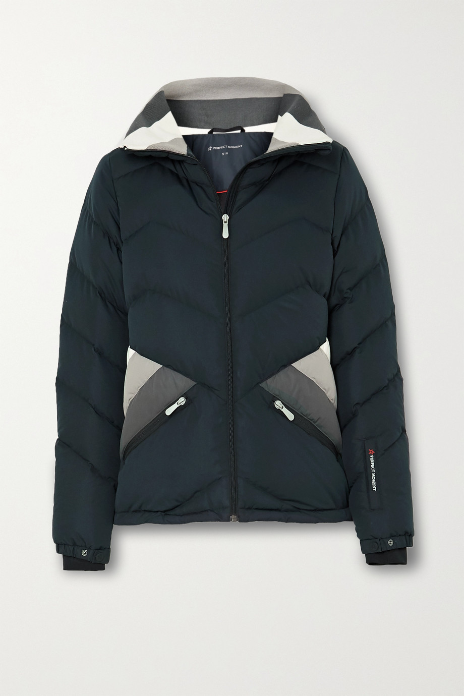 Perfect Moment Apres Duvet striped quilted down ski jacket