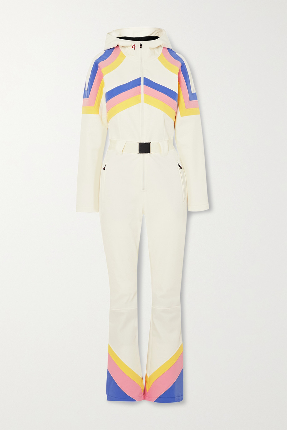 Perfect Moment Tignes hooded belted striped ski suit