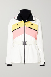Perfect Moment Niseko hooded belted striped peplum ski jacket