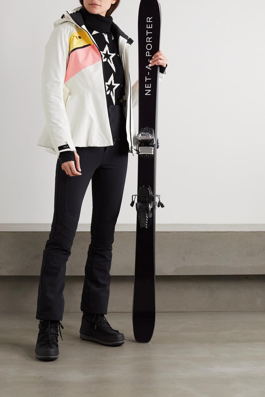 Perfect Moment Niseko gestreifte Skijacke mit Kapuze, Gürtel und Schößchen