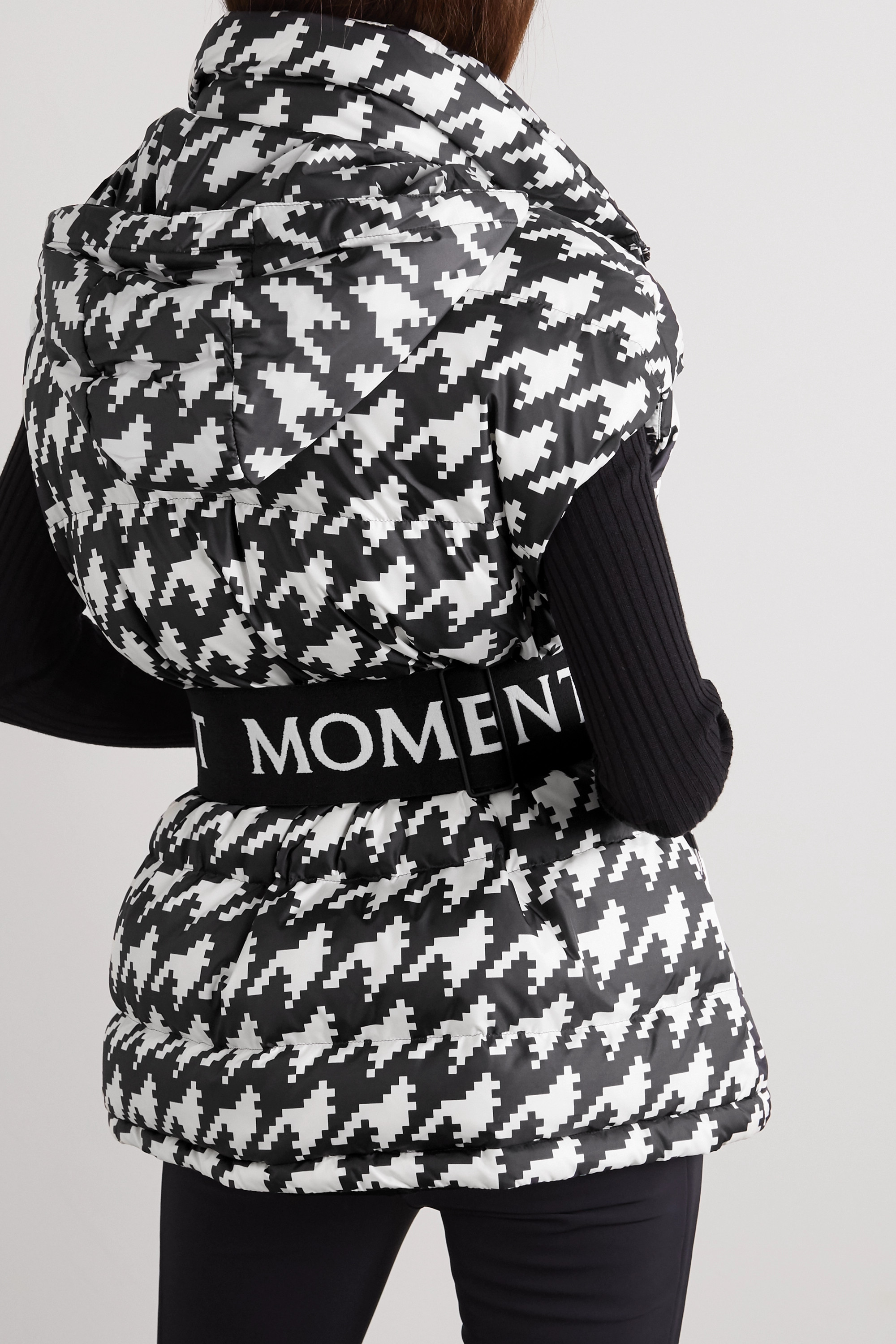 Perfect Moment Hooded belted quilted houndstooth down ski vest