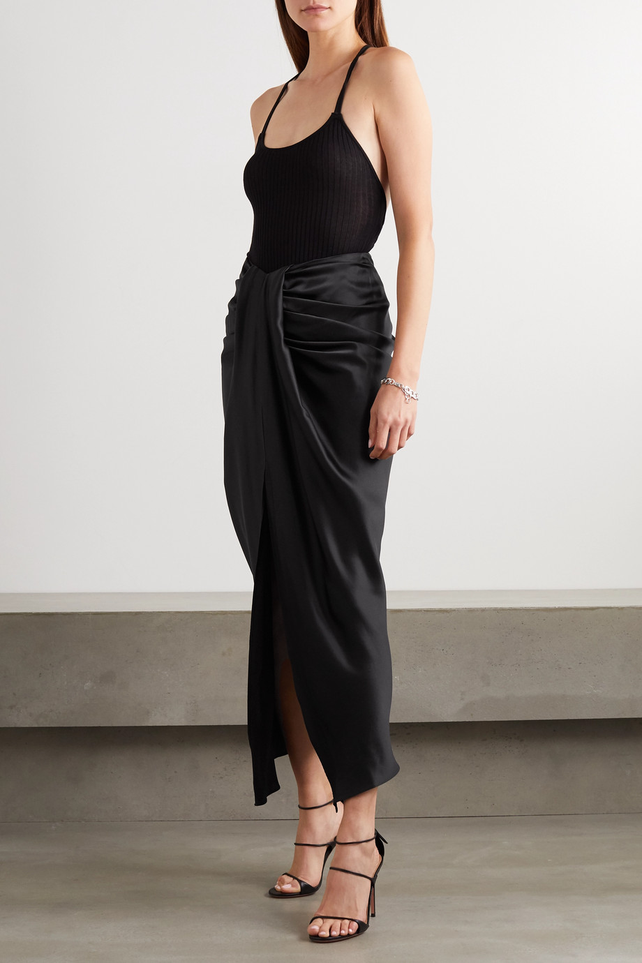 Michael Lo Sordo Hosk draped silk-satin maxi skirt