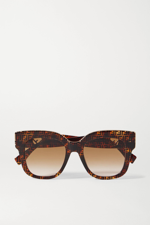 Fendi Sonnenbrille mit D-Rahmen aus Azetat in Hornoptik mit goldfarbenen Details