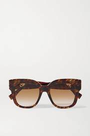 Fendi D-frame tortoiseshell acetate and gold-tone sunglasses